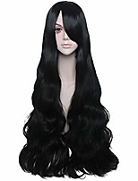 """cheap -jeanne women's long wavy curly wigs with bangs for halloween costume cosplay party- black 32"""""""