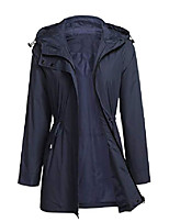 cheap -drawstring raincoat womens long sleeve waterproof hiking windbreaker rain jacket oversize coats (navy blue, medium)
