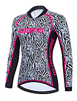 cheap -Women's Long Sleeve Cycling Jersey Winter Black / White Floral Botanical Zebra Bike Top Mountain Bike MTB Road Bike Cycling Breathable Quick Dry Sports Clothing Apparel / Stretchy / Athletic