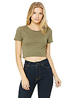 cheap -womens poly-cotton crop t-shirt (6681) heather olive m/l