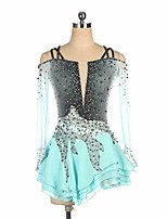 cheap -figure skating dress fingerpoint sleeves ice skating skirt long-sleeved figure skating competition professional costume competition dresses green,green-child14