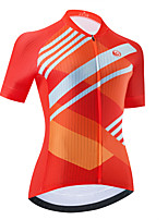 cheap -Women's Short Sleeve Cycling Jersey Orange Stripes Bike Top Mountain Bike MTB Road Bike Cycling Breathable Quick Dry Sports Clothing Apparel / Stretchy / Athletic