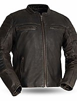 cheap -first mfg co. - commuter - men's motorcycle leather jacket (brown, medium)