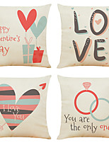 cheap -Cushion Cover 4PCS Valentine's Day Decoration Valentine's Day Linen Soft Decorative Square Throw Pillow Cover Cushion Case Pillowcase for Sofa Bedroom 45 x 45 cm (18 x 18 Inch) Superior Quality
