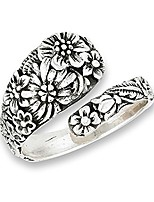 cheap -victorian flower open adjustable spoon ring .925 sterling silver band size 6