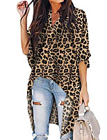 cheap -summer women's flare bell sleeve v neck shirts high low hem blouses tops (leopard-yellow,xl)