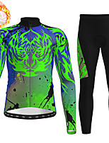 cheap -21Grams Men's Long Sleeve Cycling Jersey with Tights Winter Fleece Polyester Black / Yellow Blue Green Animal Bike Clothing Suit Fleece Lining Breathable 3D Pad Warm Quick Dry Sports Graphic Mountain