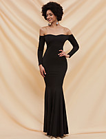 cheap -Mermaid / Trumpet Sexy bodycon Prom Formal Evening Dress Off Shoulder Long Sleeve Floor Length Spandex with Pleats 2020