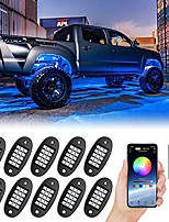 cheap -rgb led rock lights, 150 leds multicolor neon underglow waterproof music lighting kit with app & rf control for jeep off road truck car atv suv motorcycle (10 pods)
