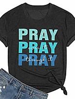 cheap -pray on it t-shirt women letter print jesus christian shirt short sleeve faith tee shirts fall tops dark gray