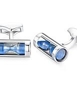 cheap -hourglass funnel sand timer cufflinks for mens steel wedding gift blue