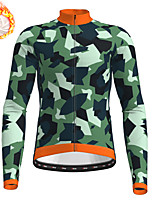 cheap -21Grams Men's Long Sleeve Cycling Jersey Winter Fleece Army Green Camo / Camouflage Bike Top Mountain Bike MTB Road Bike Cycling Fleece Lining Warm Sports Clothing Apparel / Stretchy / Athleisure