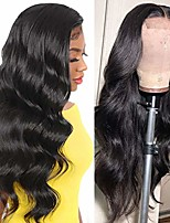 cheap -human hair lace front wigs brazilian body wave 4x4 lace closure wigs for black women body wave lace wigs natural color(22 inch)