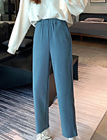 cheap -Women's Basic Streetwear Comfort Daily Going out Pants Chinos Pants Solid Colored Full Length Black Blue Brown