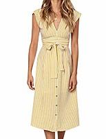 cheap -women's summer boho striped sleeveless v neck tie waist midi dress yellow