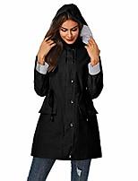 cheap -women rain jackets raincoat with hood waterproof windbreaker active outdoor hooded trench coats black