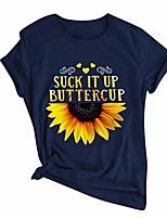 cheap -women short sleeve sunflower t-shirt cute funny graphic tee teen girls shirt top summer casual blouse tops
