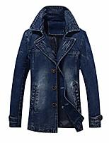 cheap -mens classic notched collar 3 button washed denim blazer jeans suit jacket denimblue s