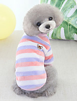 cheap -Dog Shirt / T-Shirt Stripes Basic Cute Casual / Daily Winter Dog Clothes Puppy Clothes Dog Outfits Breathable Blue Pink Orange Costume for Girl and Boy Dog Cotton S M L XL XXL