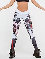 cheap -Women's Sporty Comfort Gym Yoga Leggings Pants Skull Ankle-Length Print Gray