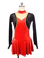cheap -Figure Skating Dress Women's Girls' Ice Skating Dress Red Spandex High Elasticity Training Competition Skating Wear Crystal / Rhinestone Long Sleeve Ice Skating Figure Skating / Kids