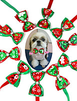 cheap -Dog Cat Collar Christmas Dog Collar Tie / Bow Tie Adjustable Flexible Outdoor Santa Claus Snowman Christmas Tree Cotton Golden Retriever Corgi Bulldog Bichon Frise Schnauzer Poodle Red 10pcs