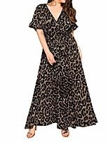 cheap -rained-women casual plus size maxi wrap dress,ruffle sleeve loose plain leopard print long dress sexy v-neck party dress black