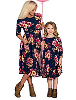 cheap -family matching flower print o-neck long sleeve midi dress mommy me high waist spring fall dress with pockets (summer white, daughter/4-5t)