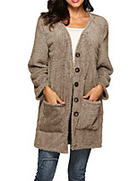 cheap -Women's Single Breasted Teddy Coat Long Solid Colored Going out Black Blue Blushing Pink Wine S M L XL