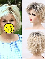 cheap -short blonde layered synthetic hair wigs for women mixed black roots