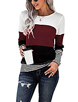cheap -women long sleeve crew neck cute tunic color block loose fit t shirt trendy tops color striped shirt wine red large