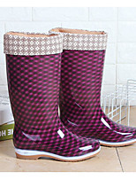 cheap -Women's Boots Flat Heel Round Toe Mid Calf Boots Daily Water Shoes PVC Plaid Black Purple / Mid-Calf Boots