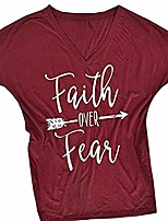cheap -women's short sleeve letter printed v neck tee tops casual t-shirt wine red small