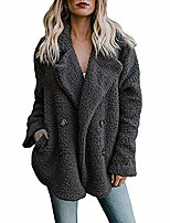 cheap -kfso womens fleece open front coat with pockets outerwear (black, m)