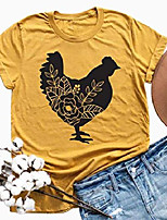 cheap -chicken shirt women funny farm shirts floral graphic tee animal lover t shirt casual short sleeve tops yellow