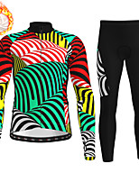 cheap -21Grams Men's Long Sleeve Cycling Jersey with Tights Winter Fleece Polyester Green Bike Clothing Suit Thermal Warm Fleece Lining Breathable 3D Pad Warm Sports Graphic Mountain Bike MTB Road Bike