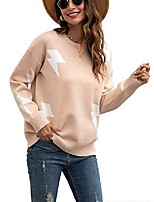 cheap -women's jumper casual color block knitted sweater loose crewneck hollow long sleeve pullover (l, z-khaki)