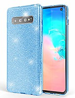 cheap -glitter case compatible with samsung galaxy s10, ultra-thin mobile sparkle silicone back-cover, protective slim shiny protector skin shockproof crystal gel bling phone bumper, color:cyan
