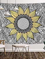 cheap -sunflower tapestry wall hanging, sunflower on floral mandala background, polyester fabric wall tapestry for home living room bedroom dorm decor 71w x 60l inches