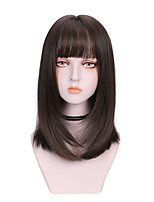 cheap -Synthetic Wig kinky Straight With Bangs Wig Medium Length Brown Black Synthetic Hair 14 inch Women's Soft Fluffy Black Brown