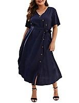 cheap -limsea women's plus size dresses, short sleeve v-neck floral print mini dress summer holiday dress navy