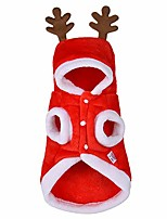 cheap -dog christmas elk hoodies costume red flannel soft warm comfortable pet supplies pack of 1