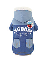 cheap -Dog Coat Jacket Printed Cute Thick Velvet Casual / Daily Winter Dog Clothes Puppy Clothes Dog Outfits Breathable Blue Costume for Girl and Boy Dog Fleece S M L XL XXL
