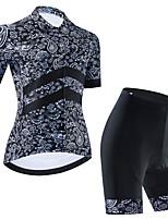 cheap -Women's Short Sleeve Cycling Jersey Cycling Jersey with Bib Shorts Cycling Jersey with Shorts Black Dark Gray Black / White Bike Breathable Quick Dry Sports Graphic Mountain Bike MTB Road Bike Cycling