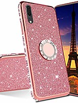 cheap -isadenser compatible with samsung galaxy a50 case ultra-slim glitter bling diamond luxury plating silicon tpu soft cover with ring stand holder for samsung galaxy a50,rose gold tpu with stand holder