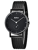 cheap -women's watch, stainless steel slim men watch luxury business casual waterproof quartz analog wrist watch with black steel band