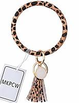 cheap -leather bracelet keychain bangle keyring circle key ring tassel large bracelet holder for women (snake skin brown)