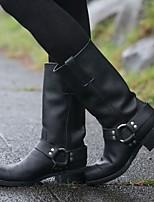 cheap -Women's Boots Flat Heel Round Toe Daily PU Synthetics Black