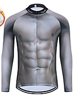 cheap -WECYCLE Men's Women's Long Sleeve Cycling Jersey Winter Fleece Polyester Grey 3D Bike Jersey Top Mountain Bike MTB Road Bike Cycling Fleece Lining Breathable Warm Sports Clothing Apparel / Stretchy