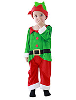 cheap -Santa Suit Costume Toddler Boys' Christmas Christmas Festival Christmas Halloween Festival / Holiday Polyester Velour Green Easy Carnival Costumes Solid Color / Top / Pants / Gloves / Mask / Hat